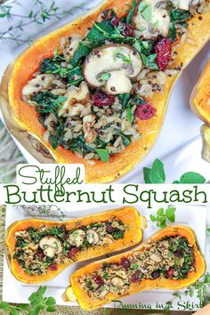 Stuffed Butternut Squash Recipe- Vegan & Vegetarian. Perfect for a healthy fall plant-based dinner, Vegan Thanksgiving or Vegan Christmas dinner. Baked and stuffed with wild rice (can sub quinoa,) mushrooms, kale and cranberry. Gluten Free too!