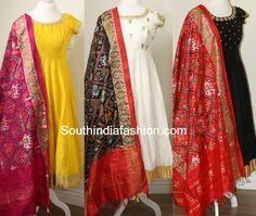 Raw Silk Anarkali's with Ikat Dupattas, anarkali with ikkat silk dupatta, ikat chunni Kurti Designs Party Wear, Kurta Designs, Saree Blouse Designs, Dress Indian Style, Indian Outfits, Indian Clothes, Indian Wear, Long Gown Dress, Long Frock