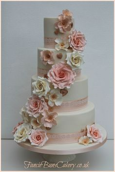 four tier vintage floral wedding cake - Google Search