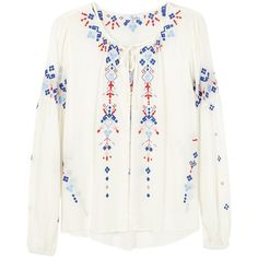 PARKER Persimmon Multi Blouse ($265) ❤ liked on Polyvore featuring tops, blouses, multi, white tops, white crochet top, parker top, long sleeve crochet top and embroidered top