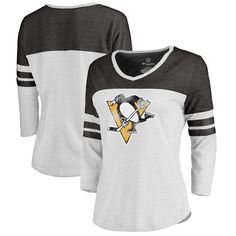 Pittsburgh Penguins Fanatics Branded Women s Distressed Primary Logo Long  Sleeve T-Shirt - White Black d01270b0e