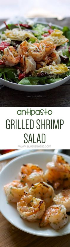 Antipasto Grilled Shrimp Salad... Nothing screams summer more than crisp, cold lettuce, a fabulous dressing and grilled protein!