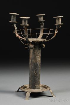 Four-light Tinware Centerpiece Candelabra | Sale Number 2618B, Lot Number 46 | Skinner Auctioneers