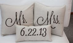 Mr. & Mrs. Custom Pillow with Wedding Date. via Etsy.  Love this.