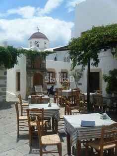 Outdoor restaurant on Greek Island Patmos