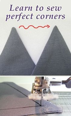 How to sew perfectly sharp corners, sewing tutorial Comment coudre des coins parfaitement coupants, tutoriel de couture Sewing Hacks, Sewing Tutorials, Sewing Crafts, Sewing Tips, Tutorial Sewing, Sewing Lessons, Sewing Ideas, Zipper Tutorial, Sewing Blogs