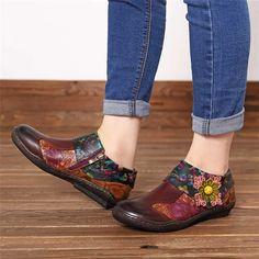 Genuine Leather Retro Flower Flats – The Shoe Outlet Shop Retro Flowers, Casual Loafers, Shoes Outlet, Toe Shape, Cow Leather, Vintage Ladies, Vintage Fashion, Flats, Heels