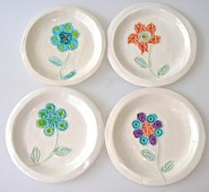 Flower dessert plates