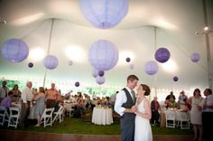 Simple lanterns to decorate and bring color to the inside of a tent. Much cheaper than draping linens