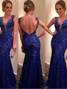 prom dress, prom dresses, royal blue long lace prom dress 2016