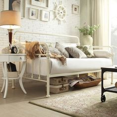@Overstock - Giselle Antique White Graceful Lines Iron Metal Daybed - The Leona collection features spindles in the headboard and footboard with elegantly crafted casting at each joint. With a unique modern style that is sophisticated yet simple, this antique white daybed can compliment any decor.  http://www.overstock.com/Home-Garden/Giselle-Antique-White-Graceful-Lines-Iron-Metal-Daybed/9148140/product.html?CID=214117 $454.99