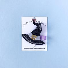 Halloween Witch Hat Hair Bows Glitter Clips for Fall