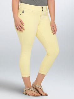 bd7aaaaab3b Plus Size Torrid Cropped Jeggings - Yellow Wash