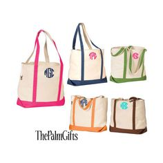 Canvas Beach Bags - Personalized Beach Totes or Monogrammed Beach... ($28) ❤ liked on Polyvore