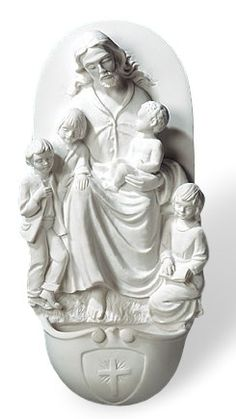 """Jesus With Children Holy Water Font Measures 10"""" tall and made of resin. Jesus…"""
