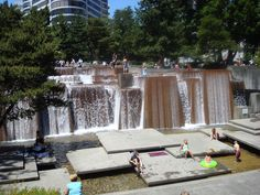 This super-sweet fountain is called the Ira Keller Fountain and it's found in downtown Portland, Oregon.  We dipped here in the summer so it was extra refreshing : )