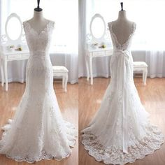 Popular Elegant V-Neck Long Mermaid White Lace Bridal Gown, Wedding Party Dresses , The wedding dresses are fully lined, 4 bones in the bodice, chest pad New Bridal Dresses, Lace Mermaid Wedding Dress, Mermaid Dresses, White Wedding Dresses, Bridal Lace, Wedding Party Dresses, Bridal Gowns, Gown Wedding, Backless Wedding