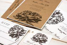 Vintage Wedding Invitation Botanical Engraving Natural Peony  Suite SAMPLE by Lemon Square Designs. $4.00, via Etsy.