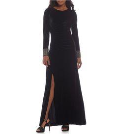 8cf241823ec Calvin Klein Beaded Cuff Velvet Gown  Dillards