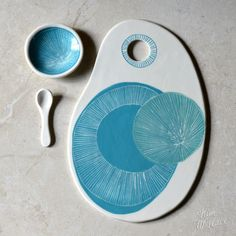 Fantastic Cost-Free slab Ceramics cheese boards Popular Gift set ~ large cheeseboard in aqua with hand-carved pattern, condiment dish and spoon Hand Built Pottery, Slab Pottery, Ceramic Pottery, Pottery Art, Pottery Ideas, Ceramic Plates, Ceramic Art, Ceramic Spoons, Clay Projects
