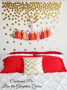 Gold Circle Dot Shaped Wall Decals - Set of 200 Vinyl Wall Decals in 45 Color Options - Nursery or Kid Room Decor - Jazz Up a Boring Wall by LeenTheGraphicsQueen on Etsy