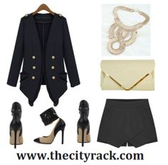 Look sophisticated and elegant in this gorgeous smart look that is ultra-chic. The high-fashion blazer is accessorized with beautiful gold detailing while the tailored fit is structured to flatter your figure. Pair with a simple white top and these fashion-forward skorts that are this season's must-have style. Finish with some eye-catching heels, a statement clutch and some glam jewellery.