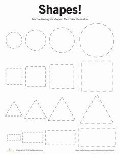 Preschool Shapes Worksheets: Tracing Basic Shapes