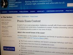 ASHA Praxis Exam Content  A great place to start when studying for your Praxis Exam! Pinned by SOS Inc. Resources @sostherapy.