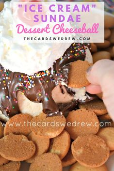"""Dessert cheese ball recipes are perfect appetizers to bring when you want a small dessert that feeds a large crowd! Try this """"Ice Cream Sundae"""" Cheese Ball. Chocolate Spread, Hershey Chocolate, Vanilla Whipped Cream, Ice Cream, Dessert Cheese Ball, Waffle Bowl, Small Desserts, Large Crowd, Cheese Ball Recipes"""