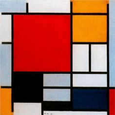 De STIJL- Composition with Large Red Plane, Yellow, Black, Gray and Blue ~ Piet Mondrian- PM believed that naturalistic colors and form disguise ultimate spiritual reality Piet Mondrian, Kandinsky, Modern Art, Contemporary Art, Dutch Painters, Dutch Artists, Art Moderne, Summer Art, Figure Painting