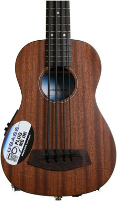 Short-scale Acoustic Bass Travel Guitar with Solid Mahogany Body/Neck, Rosewood Fretboard, Shadow Pickup System/EQ, and Hard-foam Case - Natural