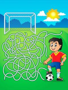 Illustration about Maze 5 with soccer player - vector illustration. Gross Motor Activities, Sensory Activities, Activity Games, Soccer Crafts, Mazes For Kids, File Folder Activities, Maze Game, Labyrinth, Kindergarten Fun