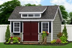 - Premier Garden Shed with Cedar Impressions Siding Vinyl: Custom Cedar Impressions Trim: White Shutters Black Roof: Weatheredwood - Options Featured: Shed Dormer Raised Panel Arch Doors Flower Boxes. Diy Storage Shed Plans, Garden Storage Shed, Storage Sheds, Backyard Storage, Garage Storage, Outdoor Garden Sheds, Backyard Sheds, Outdoor Pergola, Backyard Patio