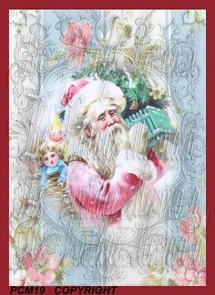 Vintage Victorian Pink Santa Fabric Block by mermaidfabricshop