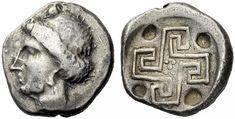 KRETA   KNOSSOS     Stater, circa 450 - 375. Kopf der Ariadne mit Ohrring nach links. Rs: Labyrinth in Form eines Mäanders, im Zentrum fünf Punkte, an den Ecken vier punktförmige Vertiefungen. BMC 9; Svoronos 70, 39; Le Rider, Monnaies Crétoise, 23. 11,78g. Selten. Sehr schön/fast vorzüglich.    Read more: http://www.cointalk.com/t221642/#ixzz2KZ3hA5V7