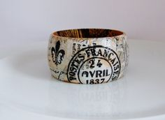 Wooden Vintage Style Decoupage Bangle by UniquelyUJewellery, £20.00
