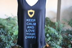 Keep Calm and Love your Chippy CHP Glitter Shirt Baby Girls Kids Women's Size 6 months - adult 2XL