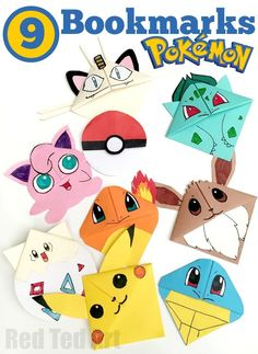 9 Wonderful Pokemon Bookmark Corners. Make one. Make them ALL. The kids will love them (mine do!!)