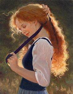 """""""Ribbons In My Hair"""", by American artist - Sheri Dinardi, 14 x 11 inches , Oil on Linen, Available."""