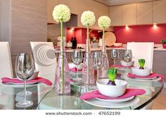 pink and white table - dinner party