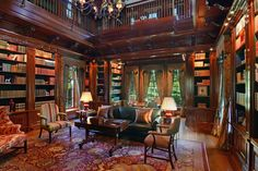 two storey mahogany library | The two-story mahogany library. The Daumans created a secret staircase ...