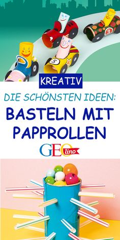 Basteln mit Papprollen At GEOLINO.de you will find lots of fun projects to do with cardboard rolls! with children idea … Cardboard Rolls, Cardboard Crafts, Paper Crafts, Recycled Furniture, Diy Furniture, Cardboard Furniture, Diy For Kids, Crafts For Kids, Vestidos Vintage