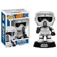 The scout troopers on speeder bikes from Star Wars: Episode VI - Return of the Jedi trilogy are now bobble heads! The Star Wars Biker Scout Pop! Pop Vinyl Figures, Funko Pop Figures, Funko Pop Star Wars, Star Wars Toys, Minions Star Wars, Regalos Star Wars, Jouet Star Wars, Camouflage, Pop Toys