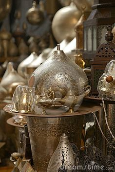 Lamps in street shop in Cairo, Egypt