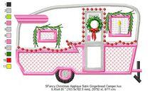 SFancy Applique Christmas Retro Camper - 7 x 5 Applique Fabric, Embroidery Applique, Machine Embroidery Designs, Embroidery Stitches, Embroidery Patterns, Quilt Patterns, Embroidery Machines, Fun Patterns, Floral Embroidery