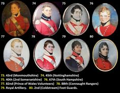 75. 40th  (2nd Somersetshire) Regiment of Foot- 1st  Battalion on the American coast from January to March 1815. At New Orleans but not engaged. Pale buff facings, gold buttons for officers, no lace. Men's lace square ended with a red and black line. When they sailed for North America, the 40th received militia knapsacks, which they had no time to  modify or repaint. Grenadier officers had scarlet wings laced gold and edged with buff with a silver grenade on the strap and a silver Sphinx.