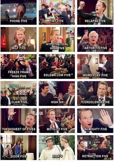 """Barney Stinson's different """"highfives"""" from HIMYM. I miss this show so much! Best Tv Shows, Best Shows Ever, Favorite Tv Shows, Movies And Tv Shows, How I Met Your Mother, Himym, Tv Show Quotes, I Meet You, High Five"""