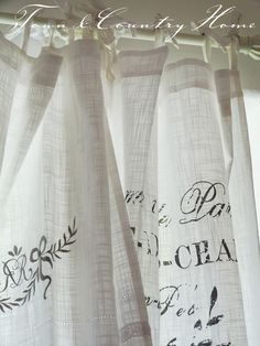 """""""cheese cloth printed curtains"""" there's an idea. cheese cloth for curtain material. Lace Shower Curtains, Linen Curtains, Drapery, Stenciled Curtains, Cottage Curtains, Short Curtains, Country Curtains, Kitchen Curtains, Shabby Chic Kitchen"""
