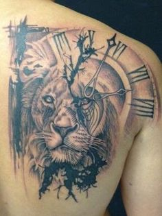 Lion tattoo, aka leo tattoo, is one of the most popular among animal tattoos. People love lion tattoos not only for its cool appearance but also for its Lion Head Tattoos, Mens Lion Tattoo, Leo Tattoos, Watch Tattoos, Animal Tattoos, Body Art Tattoos, Sleeve Tattoos, Tatoos, Clock Tattoos