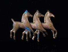 Best BRASS Running Galloping HORSES Folk Art by PremierAntiquesNY, $75.00